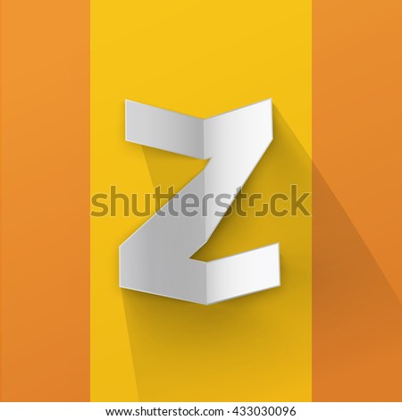 """Abstract Origami Bold Typeface Minimal Vector Design of a small """"zed"""" Character Font on a n Orange Background  for Your Decorative Branding Text Sign - stock vector"""