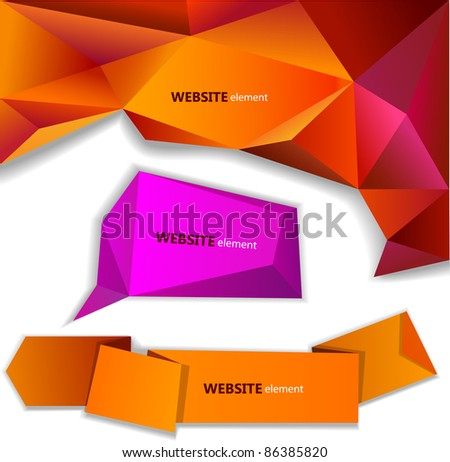 Abstract origami paper banner. Website element - stock vector