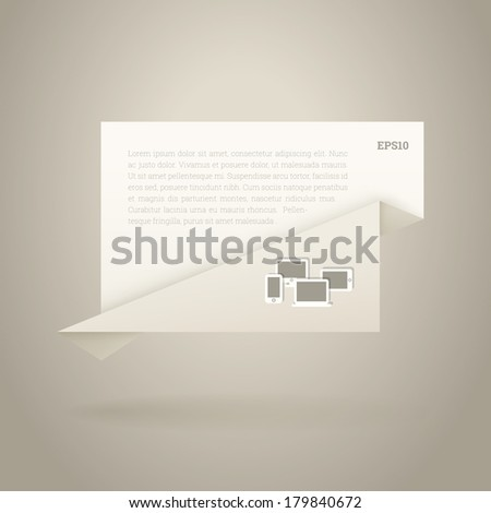 Abstract origami paper sheet design vector with cloud computing icons for speech bubble, web page banner, presentation - ivory landscape version - stock vector