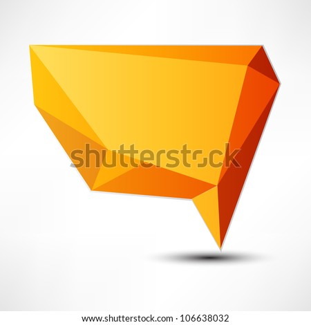 Abstract origami speech bubble vector background - stock vector