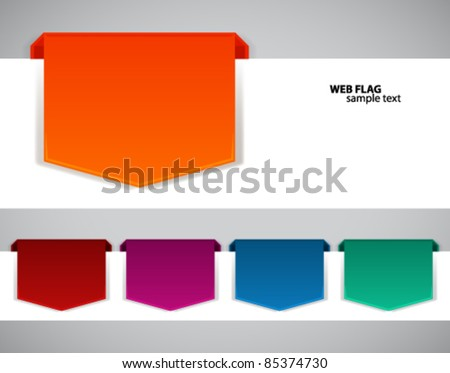 Abstract origami web flag vector background. - stock vector