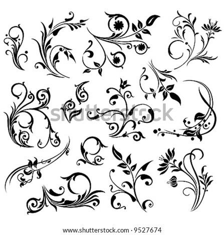 Abstract ornament illustration with floral design elements, vector - stock vector