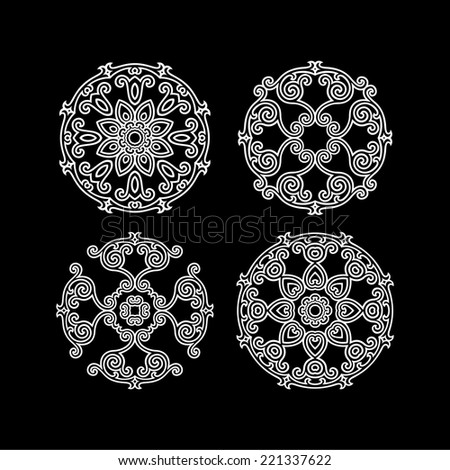 Abstract ornament, stencil round pattern, cut out design, decor element, set of 4 - stock vector