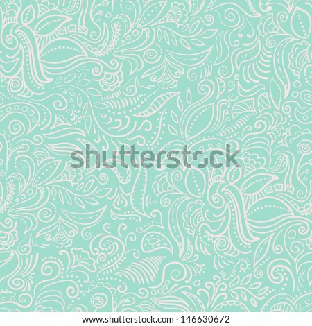 abstract ornamental mint seamless pattern added to swatches - stock vector