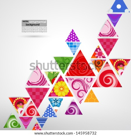 abstract ornamental triangle background  - stock vector