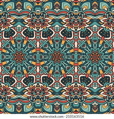 Abstract ornamental vintage ethnic  seamless vector pattern - stock vector
