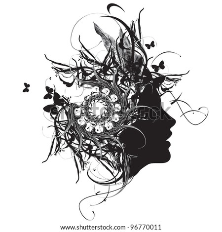 Abstract ornamental woman profile black and white - stock vector