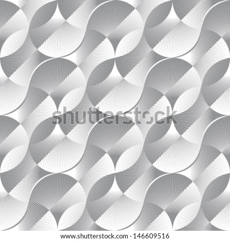 Abstract ornate geometric petals optical illusion. Seamless pattern. Vector. - stock vector