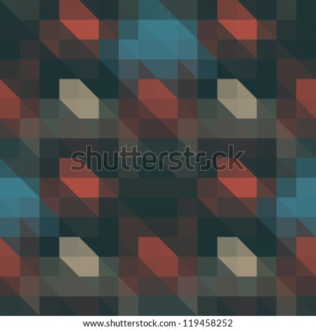 Abstract ornate pixels illusion. Seamless pattern. Vector. - stock vector