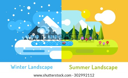 Abstract outdoor summer and winter landscape. Trees nature signs, mountains, river or lake, sun clouds, flowers, cave, snow ice, cold. Design elements - stock vector