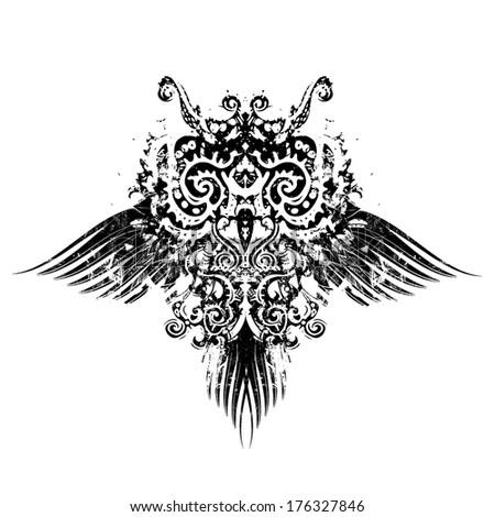 Abstract owl retro vector illustration - stock vector