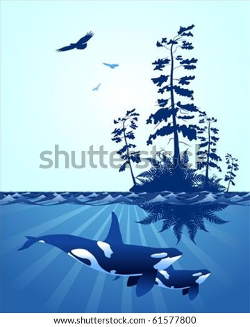 abstract Pacific Northwest ocean scene, with with windswept trees, eagles and killer whales - stock vector