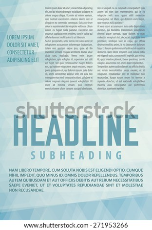Abstract pale blue background. Article in newsletter, booklet or magazine textured by triangles. Template of publication. Vector layout. CMYK color mode - stock vector