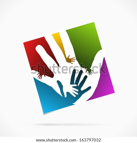 Abstract palm hand concept symbol vector illustration - stock vector
