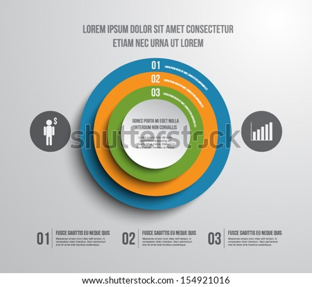 Abstract paper circles panel / banners for business design, infographics, reports, progress, number options, step presentation, websites or workflow layout. Clean and modern style - stock vector