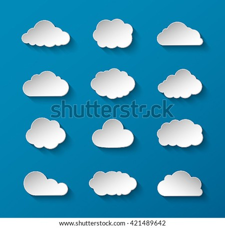 Abstract paper clouds set. Vector illustration. - stock vector