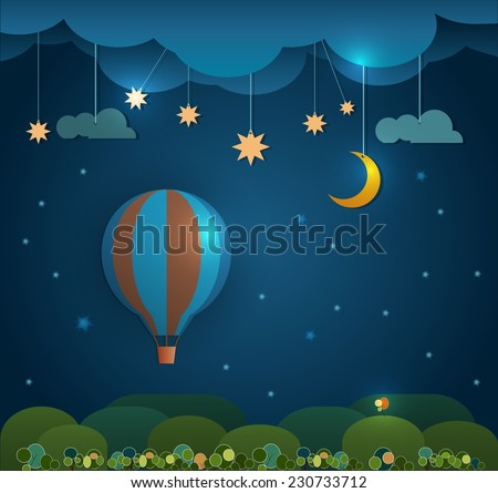 Abstract paper cut-Hot air balloon ,cloud,sky and moon with stars at night .Blank space for your design.Vector file. - stock vector
