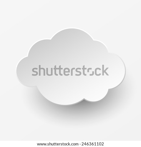 Abstract paper cut white cloud on white background - stock vector
