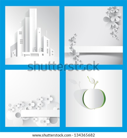 abstract paper drawings-  floral backgrounds,apple,new building,strip and cut - stock vector