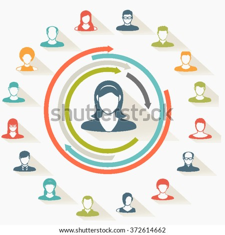 Abstract Paper Elements.Social icons.People icon.People Flat icons collection.User Icons and People Icons with Background. - stock vector
