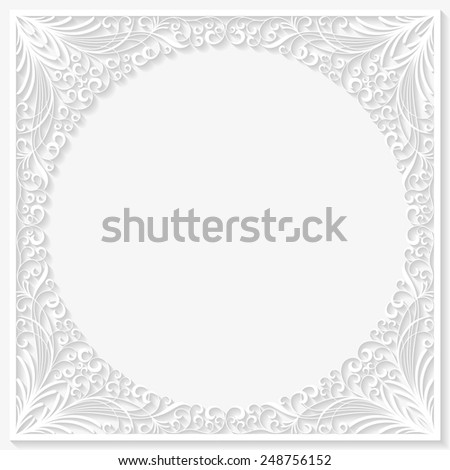 Abstract paper floral frame. Vector illustration  - stock vector