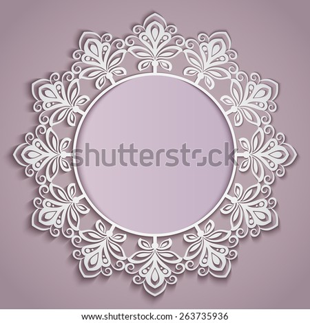 Abstract paper flower round frame vector template. - stock vector