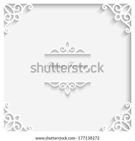 Abstract paper frame with shadow, divider, header, vector ornamental background, eps10 - stock vector