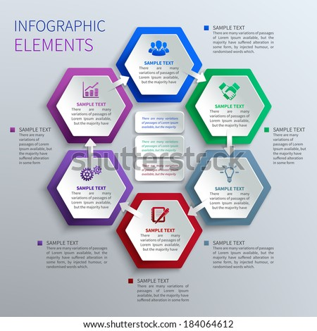 Abstract paper hexagons geometric shape business infographics design template vector illustration - stock vector