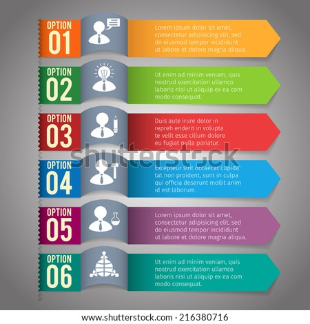 Abstract paper infographics layout template with option bookmarks vector illustration - stock vector