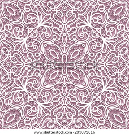Abstract paper lace texture, lacy ornament, vector seamless pattern - stock vector