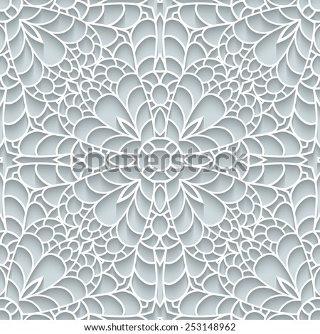 Abstract paper lace texture, vector seamless pattern - stock vector