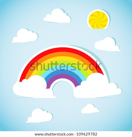 Abstract paper rainbow. Vector illustration.