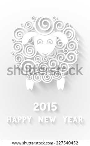 Abstract paper sheep, 2015 new year symbol, with extensional shadows and 3d effects, EPS 10 contains transparency. - stock vector
