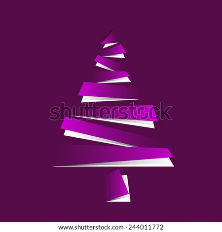 abstract paper stripe christmas tree background - stock vector