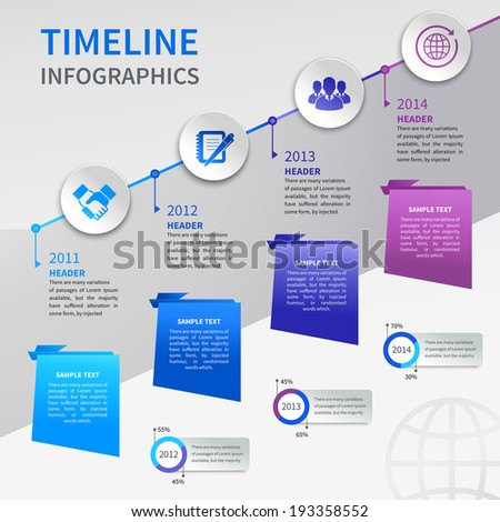 Abstract paper timeline infographics design template with ladder bookmarks and business icons vector illustration - stock vector