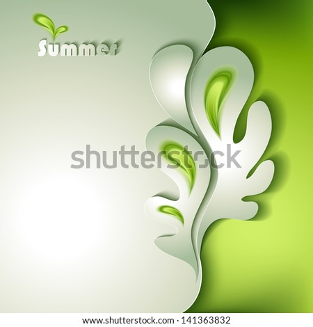 Abstract paper tree with green elements - stock vector