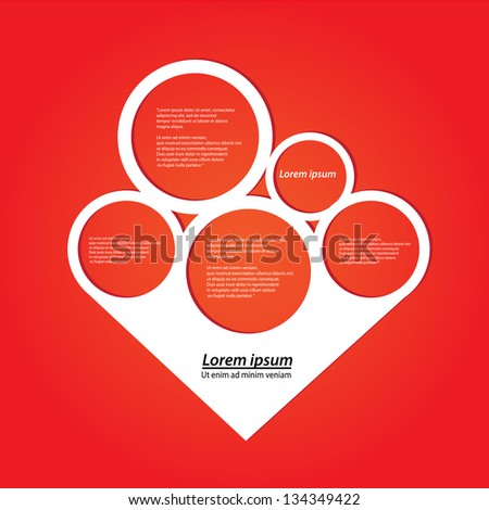 Abstract paper white origami speech bubble on red background. Vector abstract cut paper love background. red brochure design template. Circle abstract design. Christmas background.