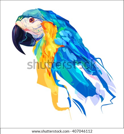 Abstract parrot head on white background. - stock vector