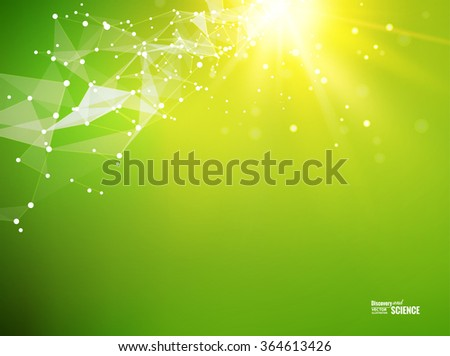 Abstract particles over orange background with shining sparks. Light background of atom for science design. Vector illustration. - stock vector