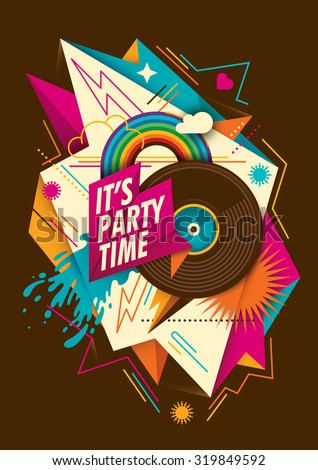 Abstract party background with vinyl. Vector illustration. - stock vector