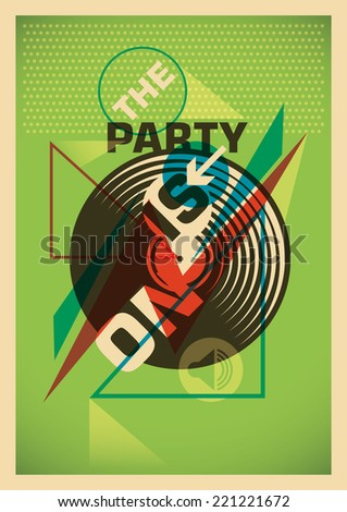 Abstract party poster design in color. Vector illustration. - stock vector