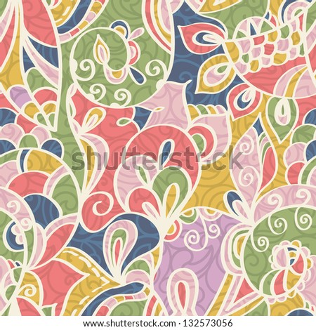 Abstract pastel-colored seamless Paisley pattern with shadows, Floral - stock vector