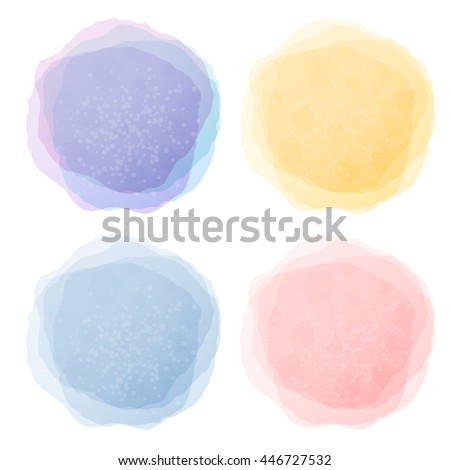 Abstract pastel watercolor labels isolated on white background vector template.  - stock vector