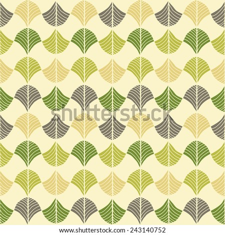 Abstract pattern based on a Traditional African Ornament. Bright green and  brown. Seamless vector. Stylized papyrus leaves. Simple pattern for wallpaper, web page background, surface textures. - stock vector