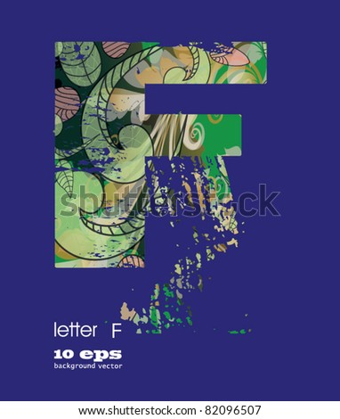abstract pattern, font, fresh green alphabet  with elements of vegetation pattern.letter F