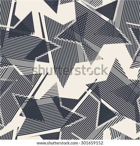 Abstract pattern from the stars, curve, seamless vector background. - stock vector