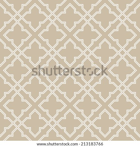 Abstract pattern in Arabian style. Seamless vector background. Beige and white texture. - stock vector