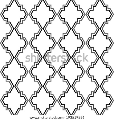 Abstract pattern in Arabian style. Seamless vector background. Black and white texture. - stock vector