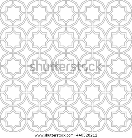 Abstract pattern in Arabian style. Seamless vector background. Stylish graphic pattern.  Gray and white  ornament.  - stock vector