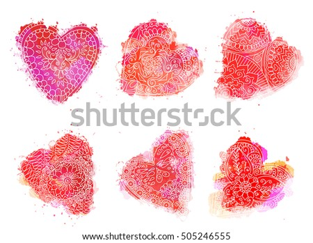 Henna Mehndi Vector : Abstract pattern tattoo henna hearts stock vector 505246555